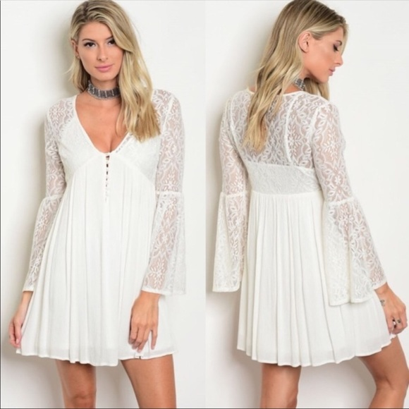 930b0829f3f The CLOTHING COMPANY Dresses | Boho Lace Mini Dress White Bell ...